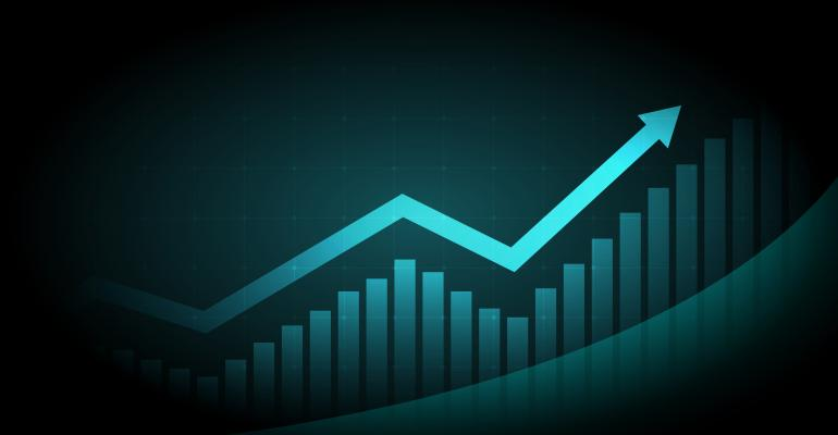 Graphic of upwards trend line on graph