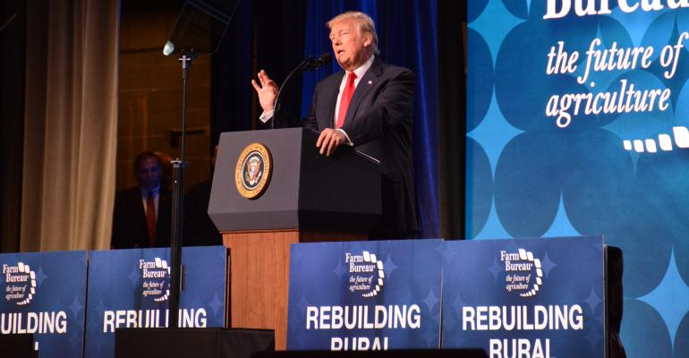 President Donald J Trump addresses the AFBF Convention