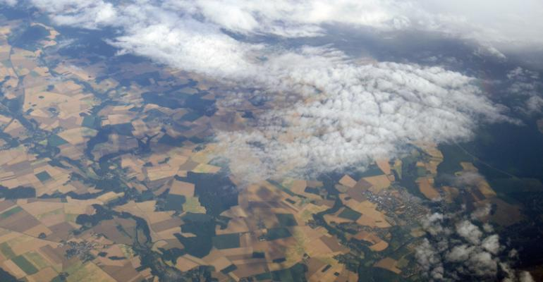 Aerial view of small fields