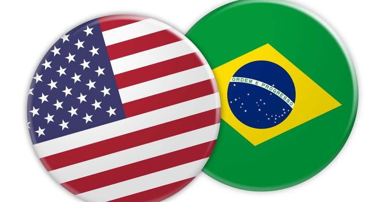Two buttons - one with U.S. flag and one with Brazilian flag