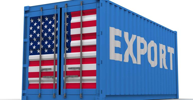 xports-Semibox-Waldemarus-ThinkstockPhotos-154x800-Blue semi trailer box with U.S. flag on back and Export written in white on the side.