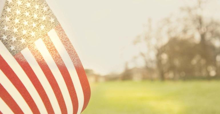 USA flag flying in an open meadow or field with late afternoon sun shining through the fabric.