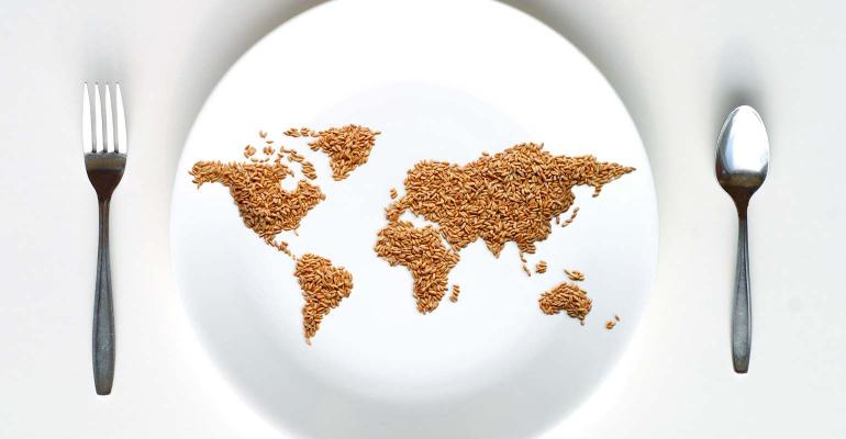Image of world in grain with fork on one side and spoon on the other.