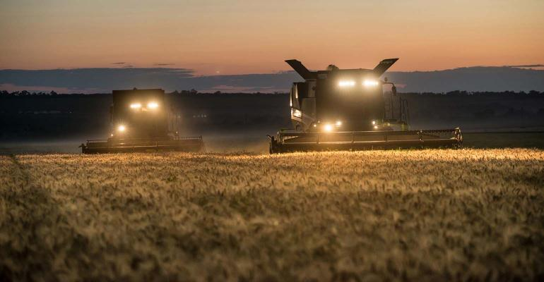 Two combines harvesting wheat at night.