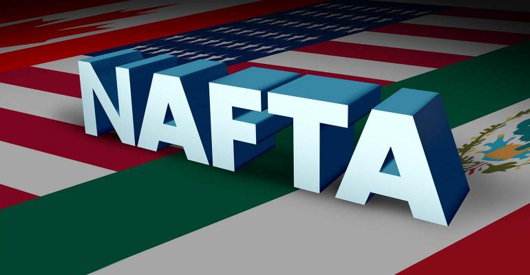 NAFTA agreement or the north american free trade agreement concept as the flags of United States Mexico and Canada as a trade deal negotiation question for the American Mexican and Canadian governments as a 3D illustration.