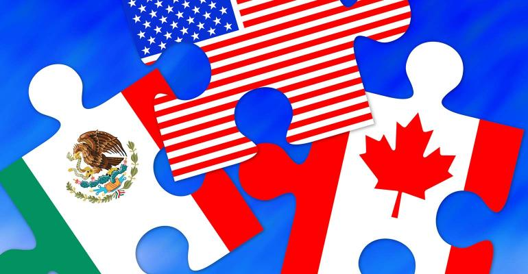 Canada, Mexico and US Flag Puzzle Pieces, conceptual image for NAFTA agreement