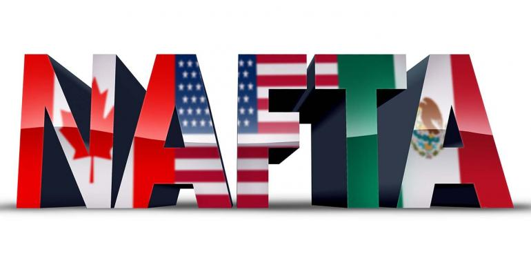 NAFTA in all caps with letters in colors of flag
