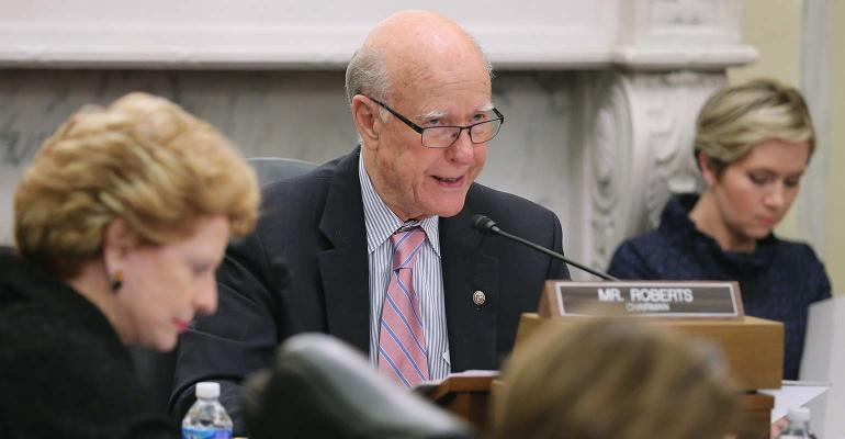 Sen. Pat Roberts at an ag committee hearing.