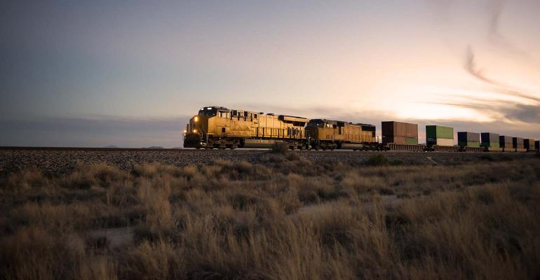 Railroad locomotive at dusk