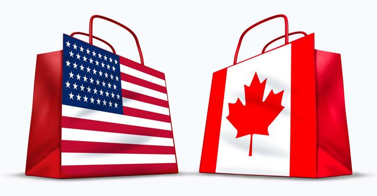Shopping bags - one in U.S. flag and one in Canadian flag.