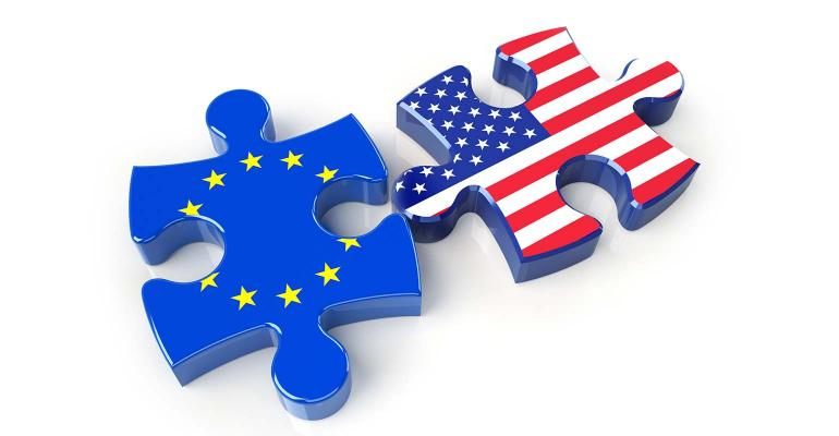 USA and EU flags on puzzle pieces. 3D rendering