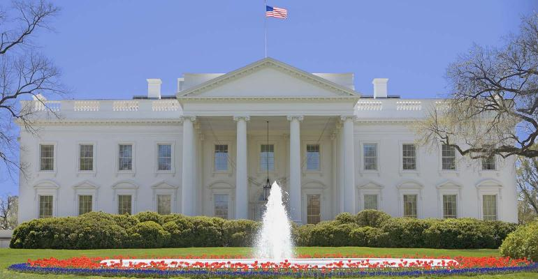 Fountain and tulips at The White House, Washington DC,