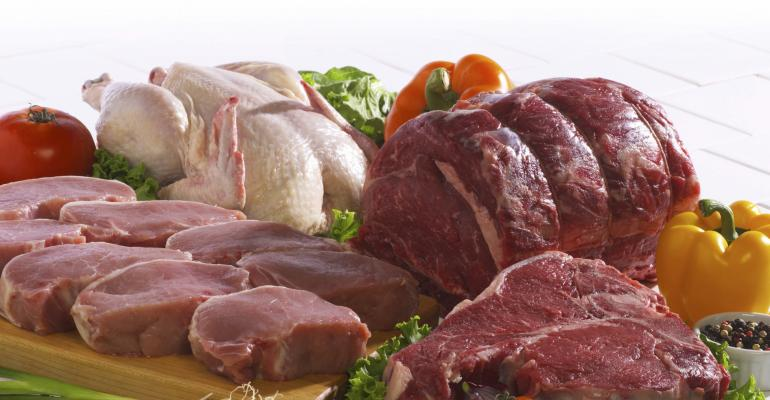 raw meat: chicken, beef and pork chops