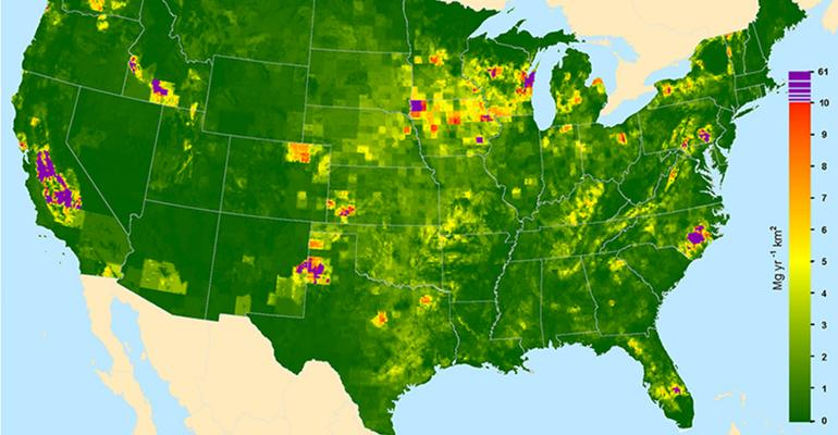 Livestock methane emissions are shown on map of United States
