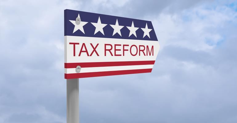 Tax reform road sign