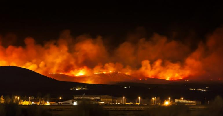 Wildfire at night, Nevada