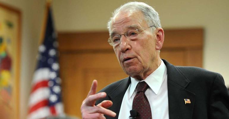 Charles Grassley at town hall meeting in Iowa.
