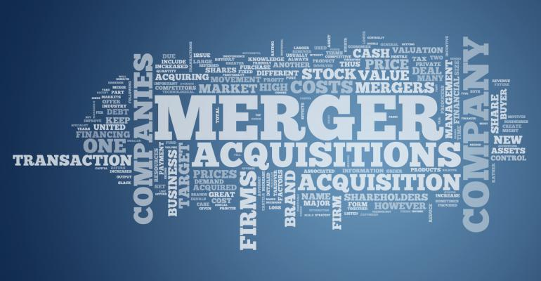 Merger and acquisitions word cloud blue with white writing