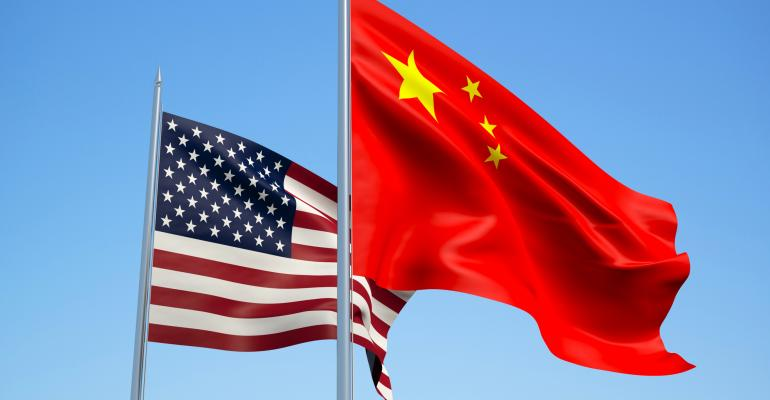 U.S. and China flags side by side
