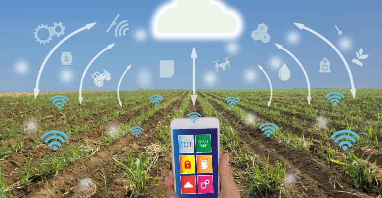 Smart phone showing ag data transfer to the cloud