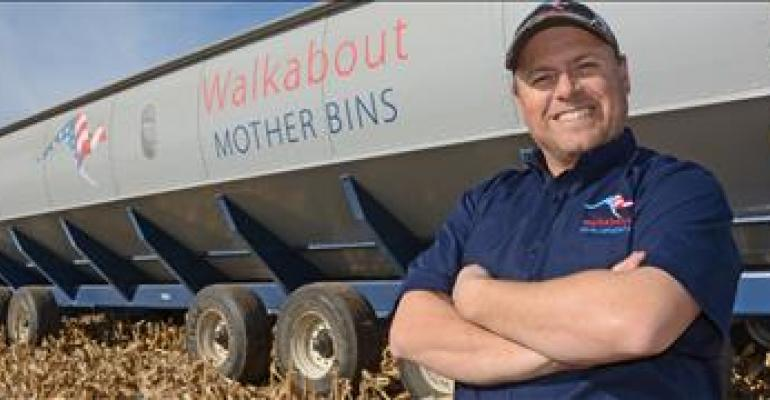 NEW CONCEPT: Dave Hedt demos a Mother Bin during corn harvest in South Dakota. The Mother Bin holds 4,000 bushels, can load a semi in about a minute and acts as portable surge tank in the field so combines don't have to wait for trucks.