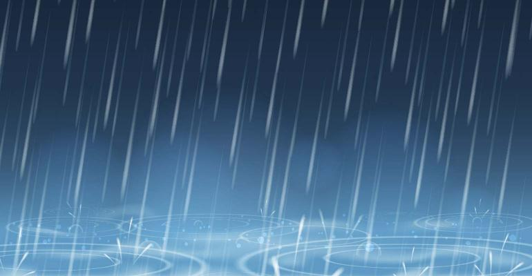 blue nature background with falling rain drops and puddles illustration