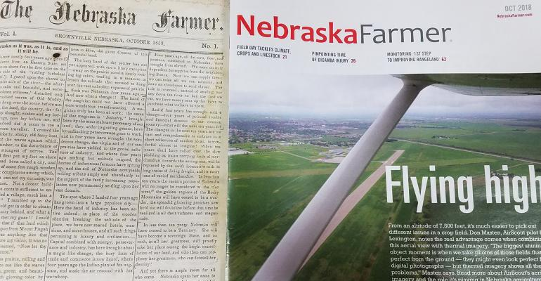 old nebraska farmer magazine next to a current nebraska farmer magazine