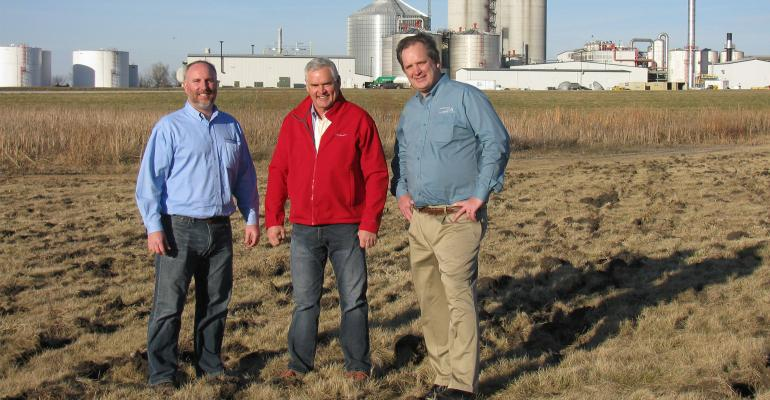 Monte Shaw (left), Kevin Reynolds (center) and Eric Hakmiller stand on land at Lincolnway Energy