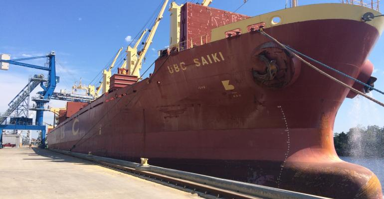 rice loaded onto ship at SWest Louisiana port