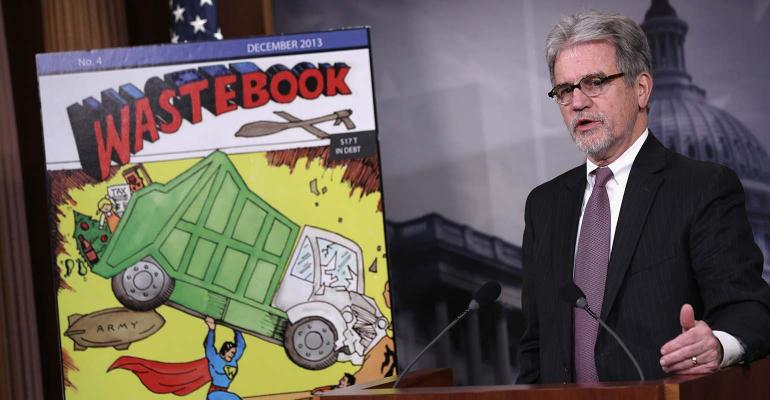 U.S. Sen. Tom Coburn (R-OK) speaks during a news conference Dec. 17, 2013 on Capitol Hill in Washington, DC.