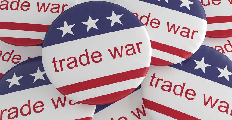 Pile of Trade War Buttons With US Flag, 3d illustration