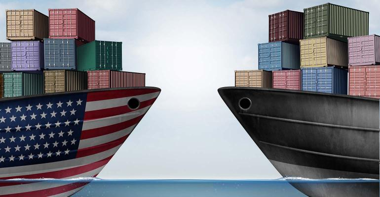 Illustration of two container ships facing each other on the water, one with USA flag