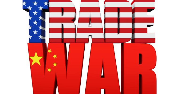 Words Trade War in China and U.S. flag