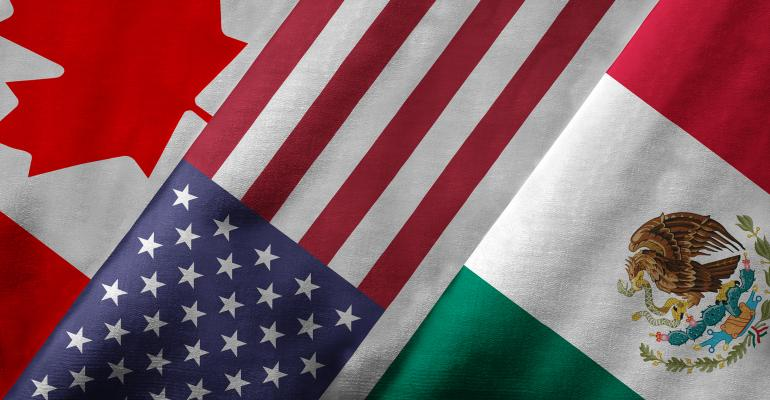 Canada, United States and Mexico flags