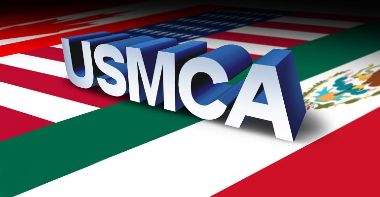 USMCA or the new NAFTA United States Mexico Canada agreement symbol with north america flags as a trade deal negotiation and economic deal fot the American Mexican and Canadian governments as a 3D illustration.