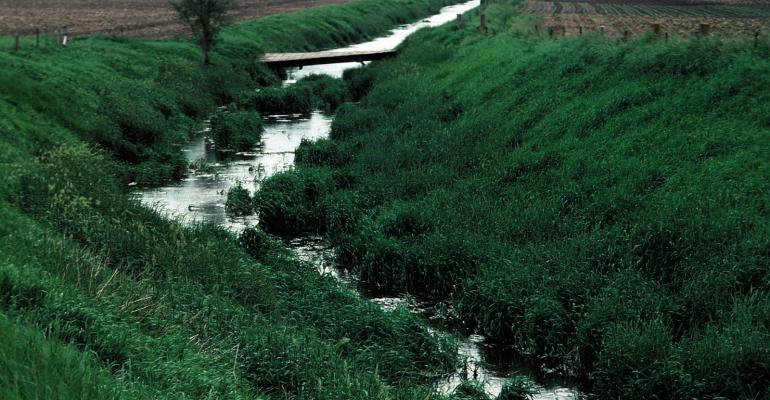 drainage ditch between two fields