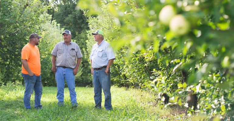 The Flamms standing in orchard