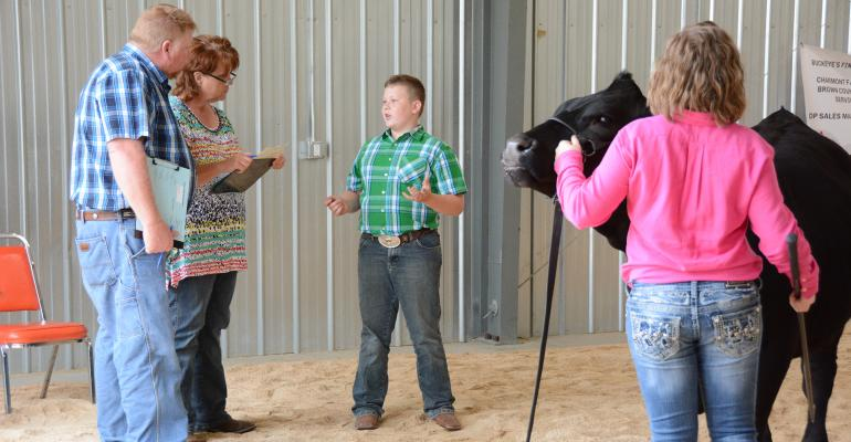 kids doing sales contest at cattle show