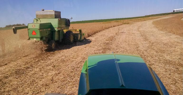 View of harvest from another tractor trailing behind
