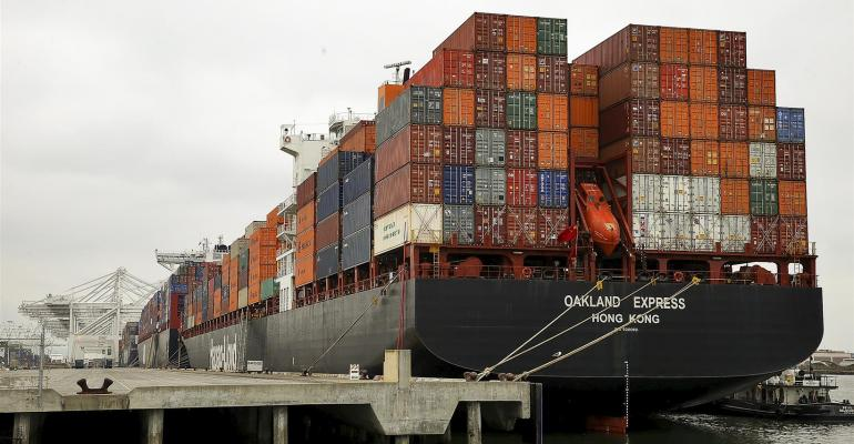 Container ships at the Port of Oakland