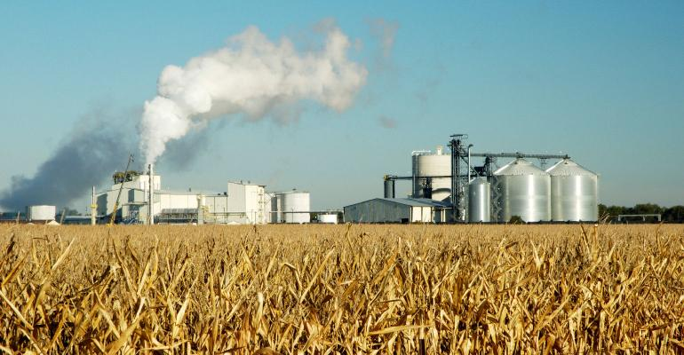 ethanol plant in corn fields