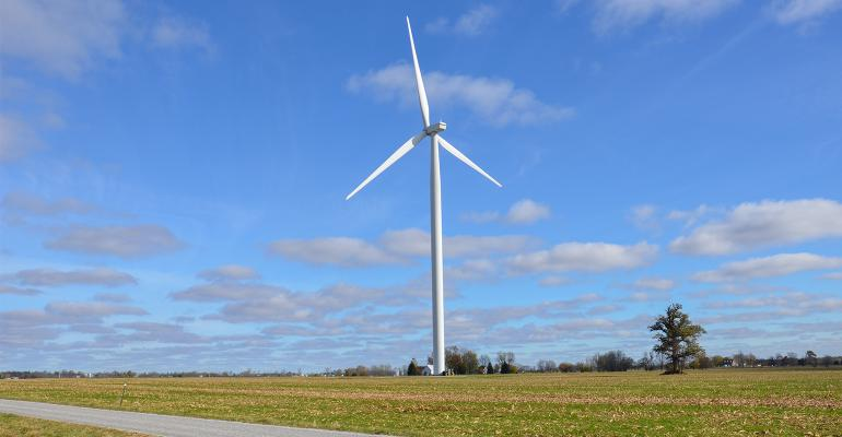 Farmland with energy windmill.