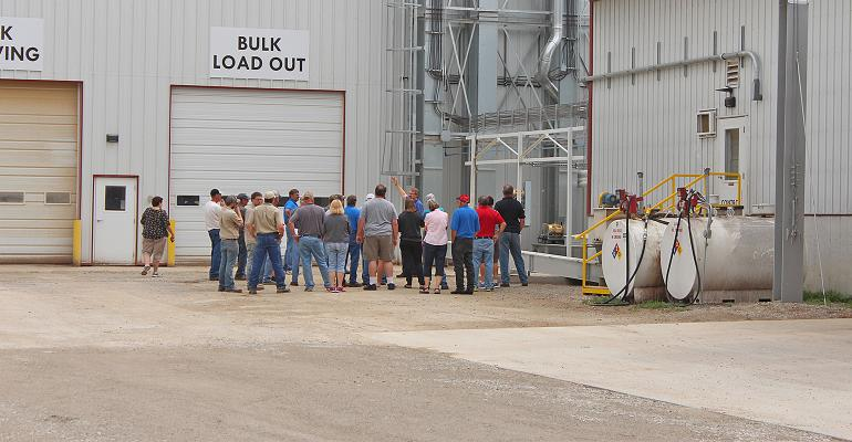 tour group at feed mill in Brandon, Wis.