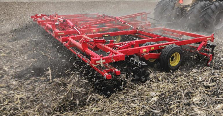 Agco39s Sunflower tillage division is launching three new tillage tools to the market  the SF6830 highspeed rotary finisher shown the SF463009 disk ripper added to the SF4600 lineup and the SF6610 vertical tillage tool