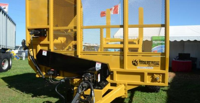 Bale shredders and processors were popular at the fall farm shows This Wolverine unit is tough and can cut through frozen bales