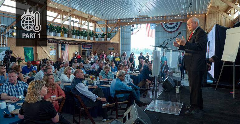 USDA Secretary Sonny Perdue attends The Honor the Harvest Forum, held on Chip Bowling's farm near Newburg, Md.