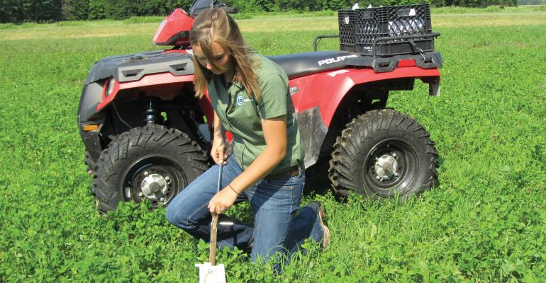 girl collecting soil samples