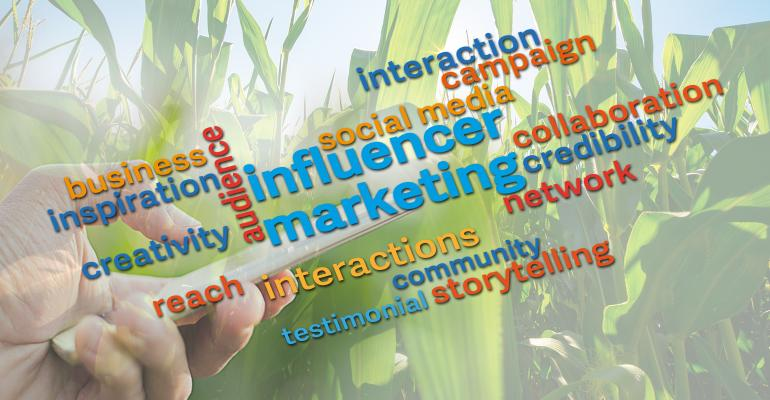 influencer marketing graphic with corn background