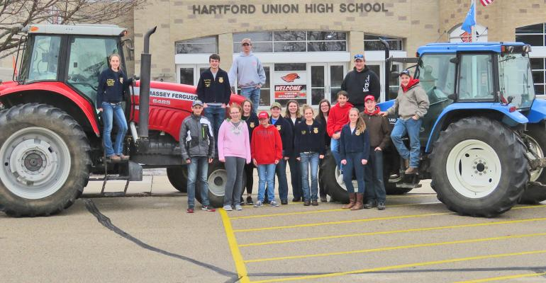 FFA students at Hartford Union High School with tractors