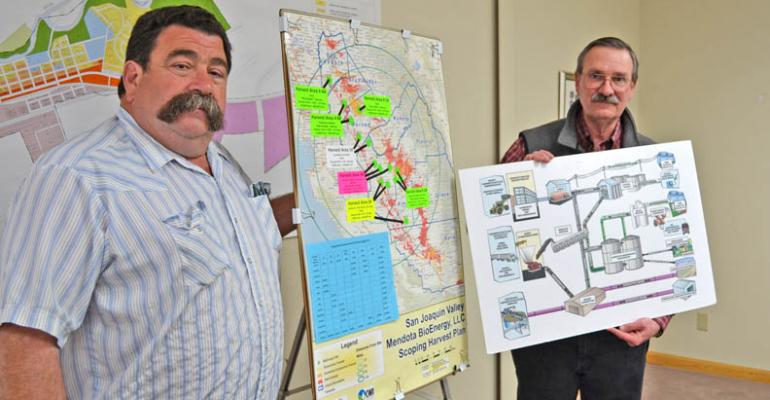 Rusty Gragnani left vice president of the Mendota Advanced Bioenergy Beet Cooperative board stands next to a map showing the area to be served by the beet cooperative Bill Pucheu Cooperative board president holds a schematic of the plantrsquos many components